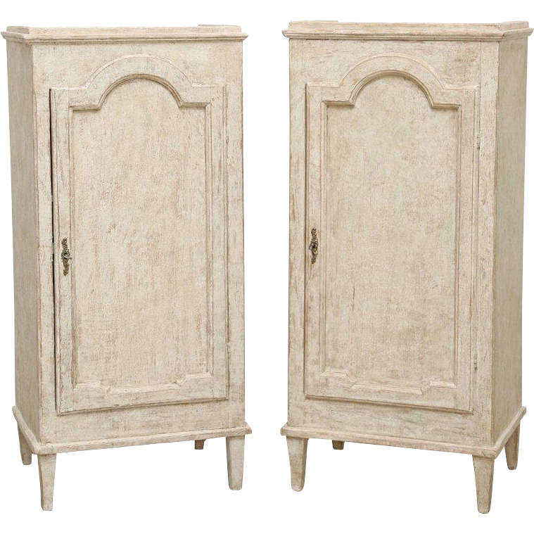 Pair Of Antique Swedish Gustavian Painted Storage Cabinets