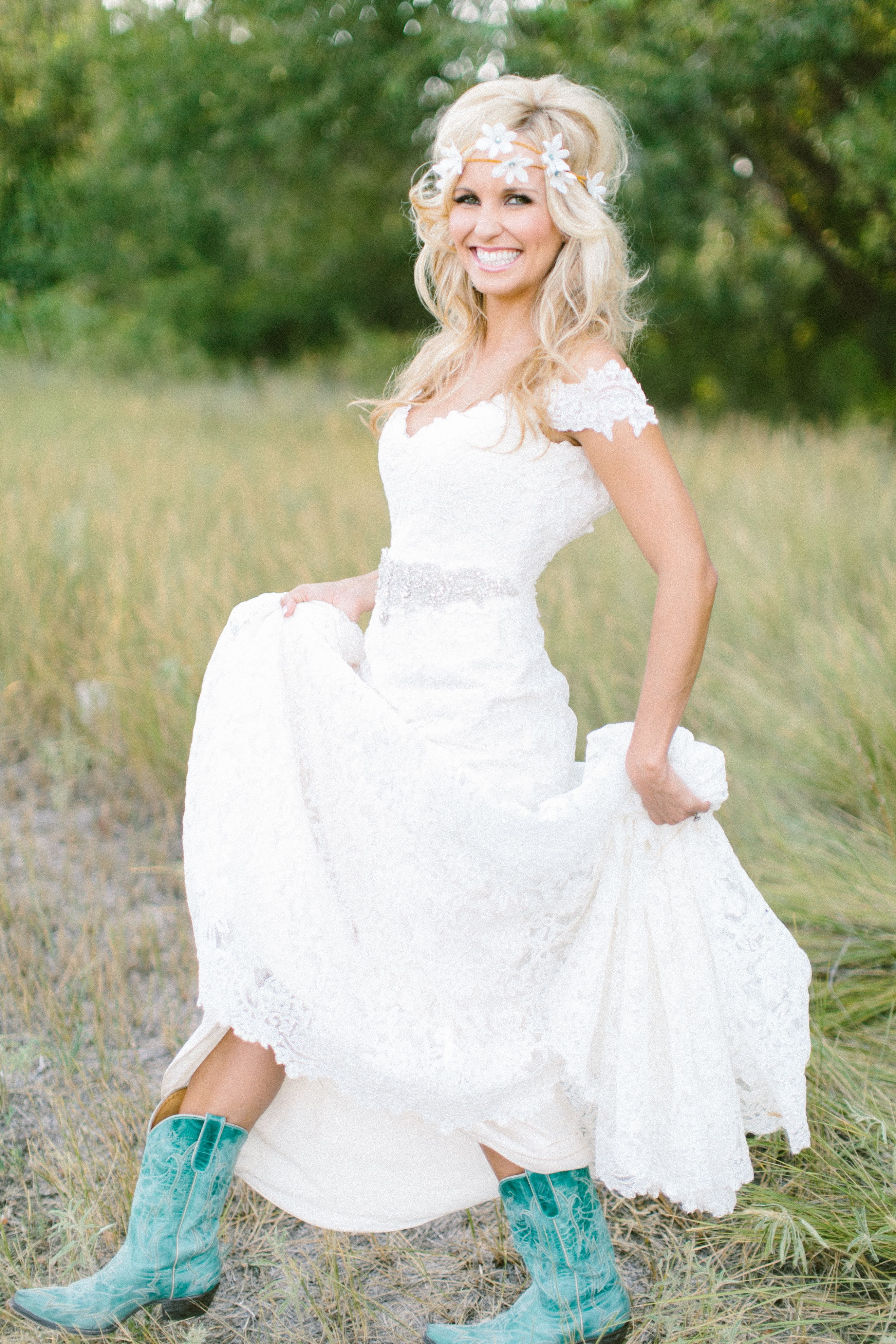 Turquoise boots with wedding dress so cute i can totally picture turquoise boots with wedding dress so cute i can totally picture my daughter doing wedding bridesmaid dressescowgirl ombrellifo Images