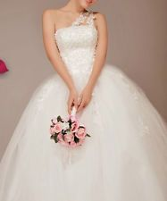 One Shoulder Tulle Ball Gown with Floral Appliques and Illusion Shoulder
