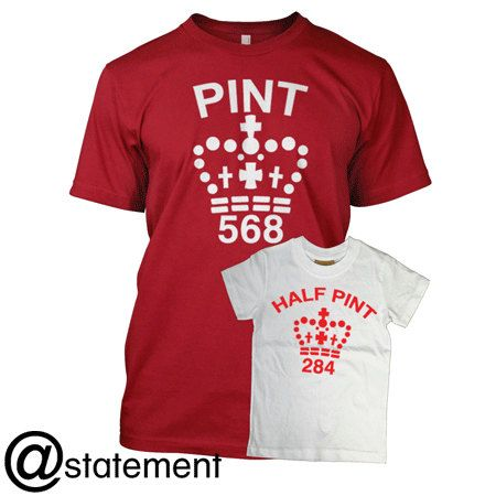 """Father & Son Cute Matching T-shirts """"Pint"""" Half Pint"""" Perfect Gift!"""