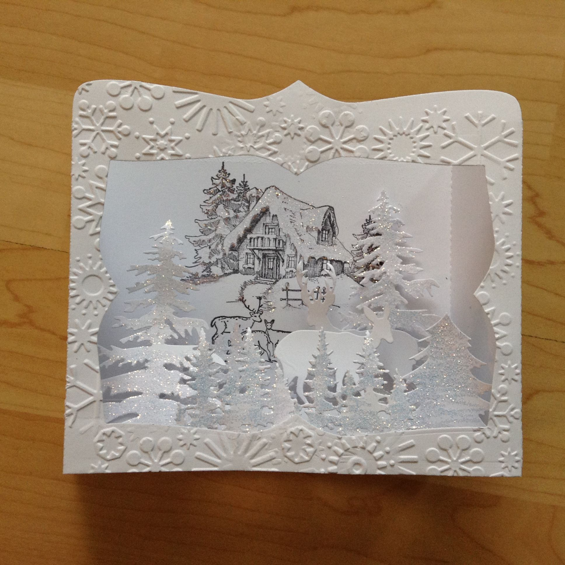 Die cut box Christmas card.