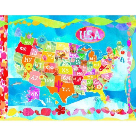 Oopsy Daisy - Oh Happy Day-USA! Canvas Wall Art 30x24, Donna Ingemanson