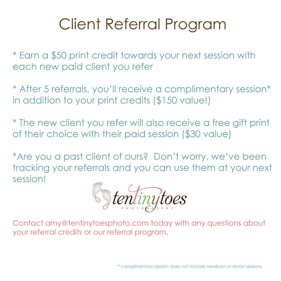 Client Referral Program  Bweeznusss    Photography