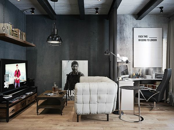 Small Modern Industrial Apartment 10