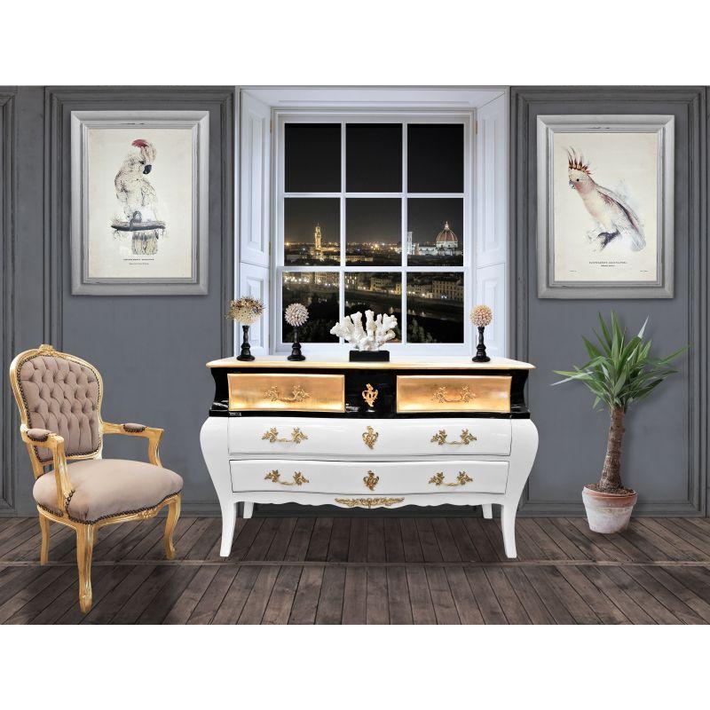 Grande Commode Baroque De Style Louis Xv Laque Blanc Et Noir