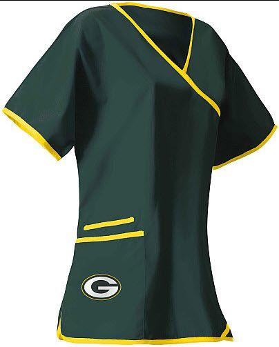 346822499a5 Green Bay Packers Scrubs | Green Bay Packers Mock Wrap Scrub Top and NFL  medical scrubs