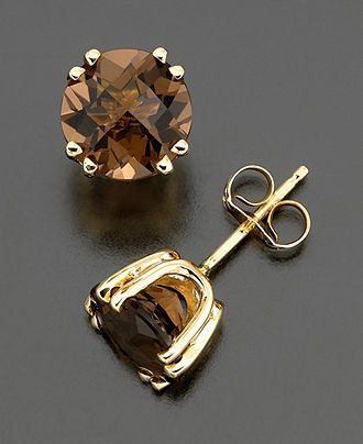 14k Gold Earrings Smoky Quartz Stud 3 Ct T W Jewelry Watches Macy S