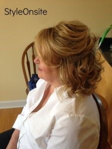 Mother Of The Bride Half Up Half Down Side Swept Bangs Curls