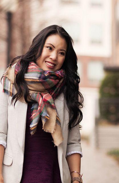 cute & little blog | peplum + blazer layering, zara tartan plaid blanket scarf outfit