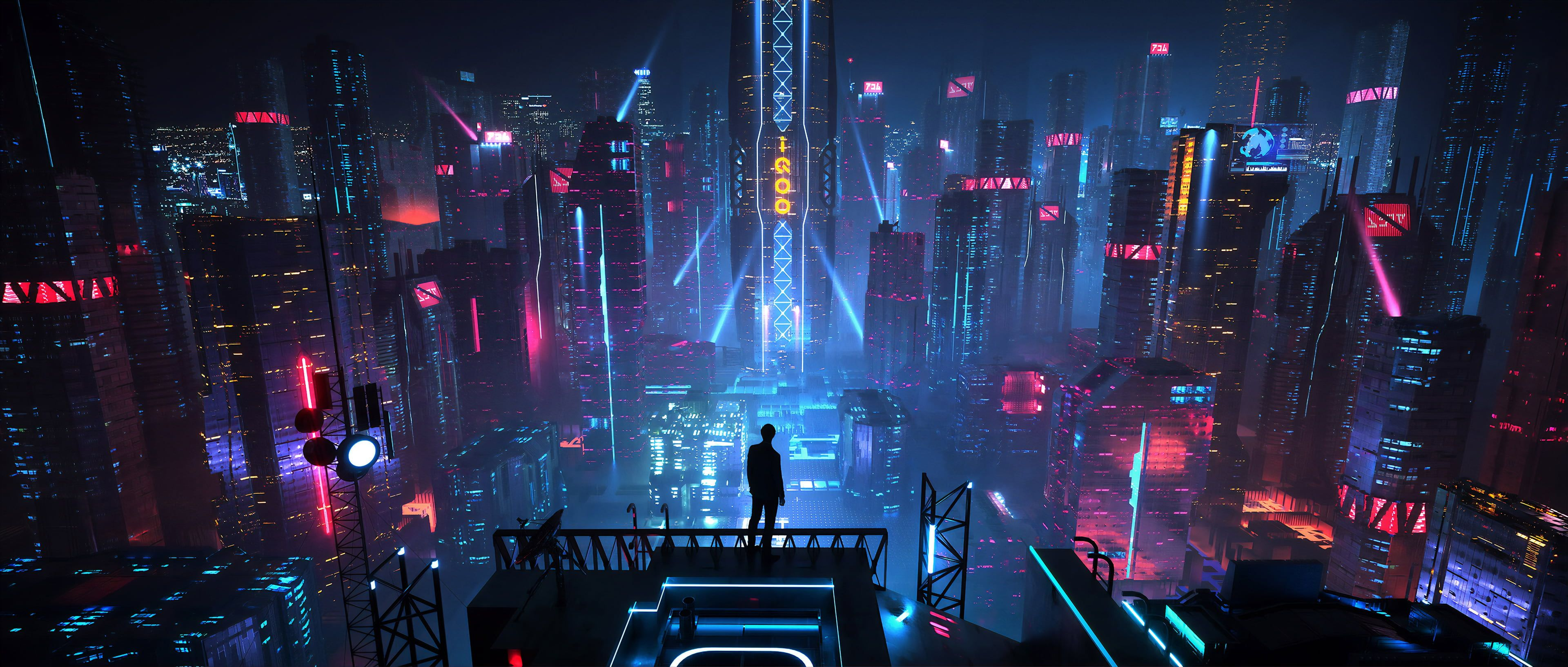 Digital Art Men City Futuristic Night Neon Science Fiction Futuristic City Cyberpunk Xuteng Pan Environmen In 2020 Cyberpunk City City Wallpaper Futuristic City