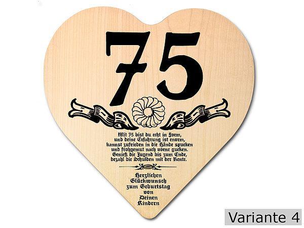 Geschenk Zum 75 Geburtstag Herz Holzschild Mit Wunschtext 75