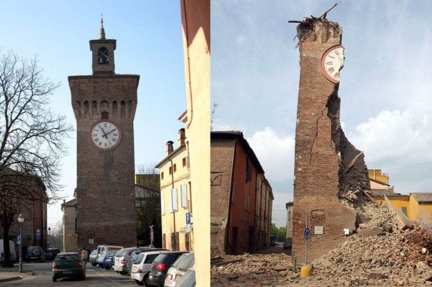 Terremoto Emilia: monumenti prima e dopo il crollo