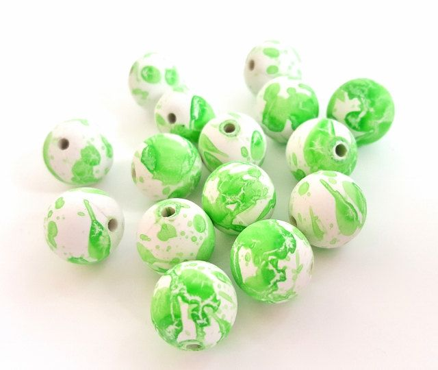 Lime Green and White Spotted Rubberized Acrylic Beads. Fun and Funky!!  Round Shaped. 14mm in Size. 15 Beads Per Order. 4 Orders Available. by FunkyCreativeJuices on Etsy