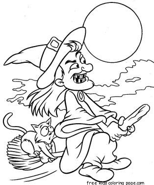 Printabel Witch Flying On Broom Coloring Page For Kids Witch