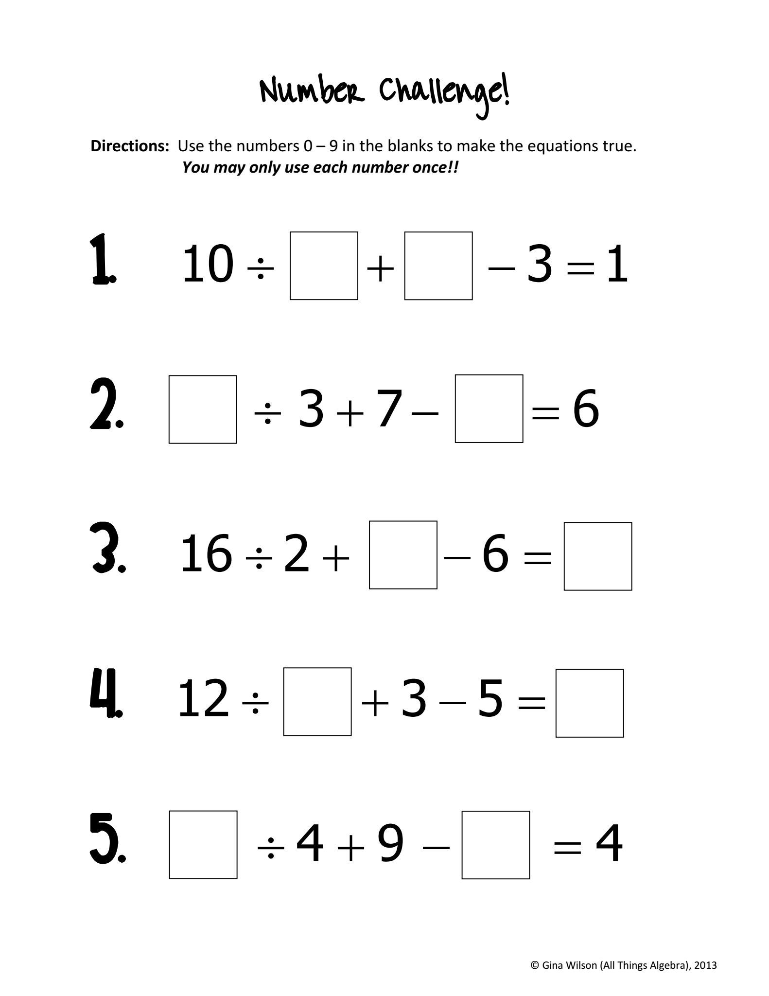 hight resolution of Number Challenge   First grade math worksheets