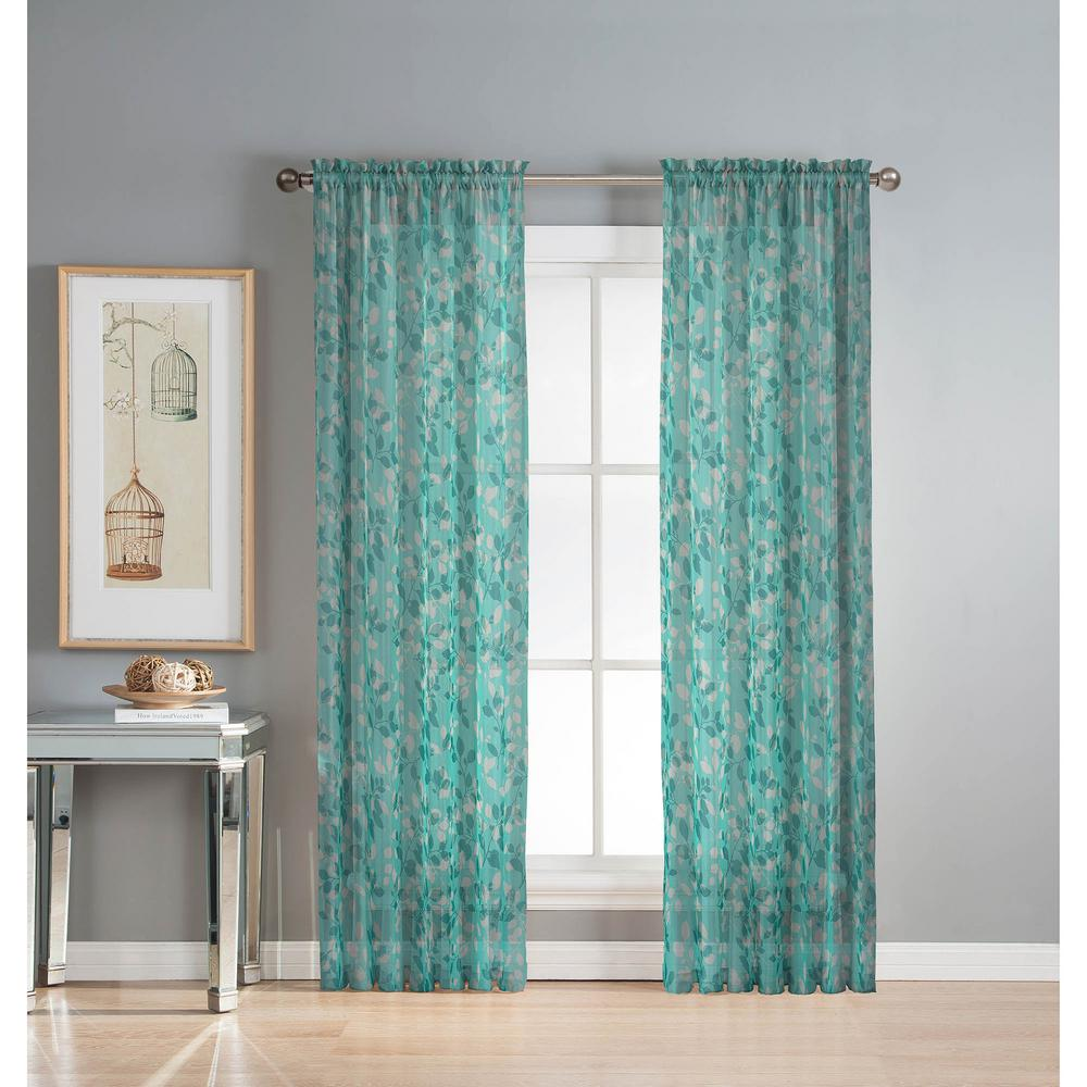 Bed against window with curtains  window elements sheer pinehurst printed  in w x  in l rod