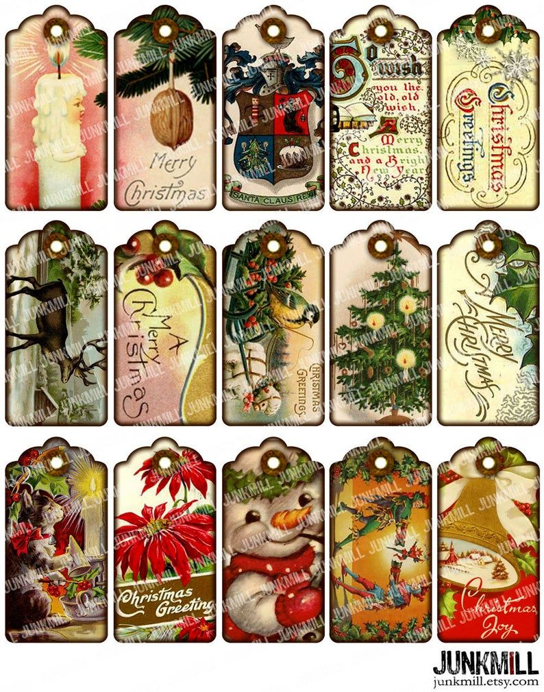 Vintage gift tags Business tags for Etsy shop on Digital collage sheet Printable download tags