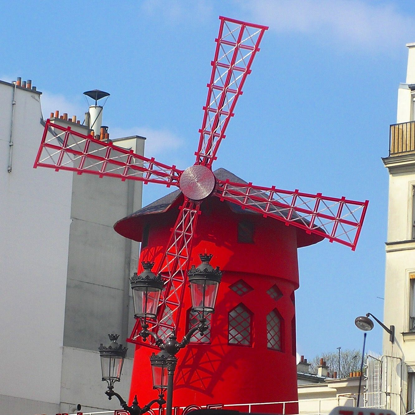 Moulin Rouge in Paris. The red windmill is ok by day but