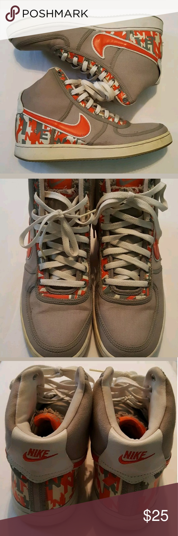 Mens NIKE Sneakers Nike Basketball Shoes Orange Gray Mens 11 Canvas Leather  310067 081 00 Swoosh Nike Shoes Sneakers 3b4a52301