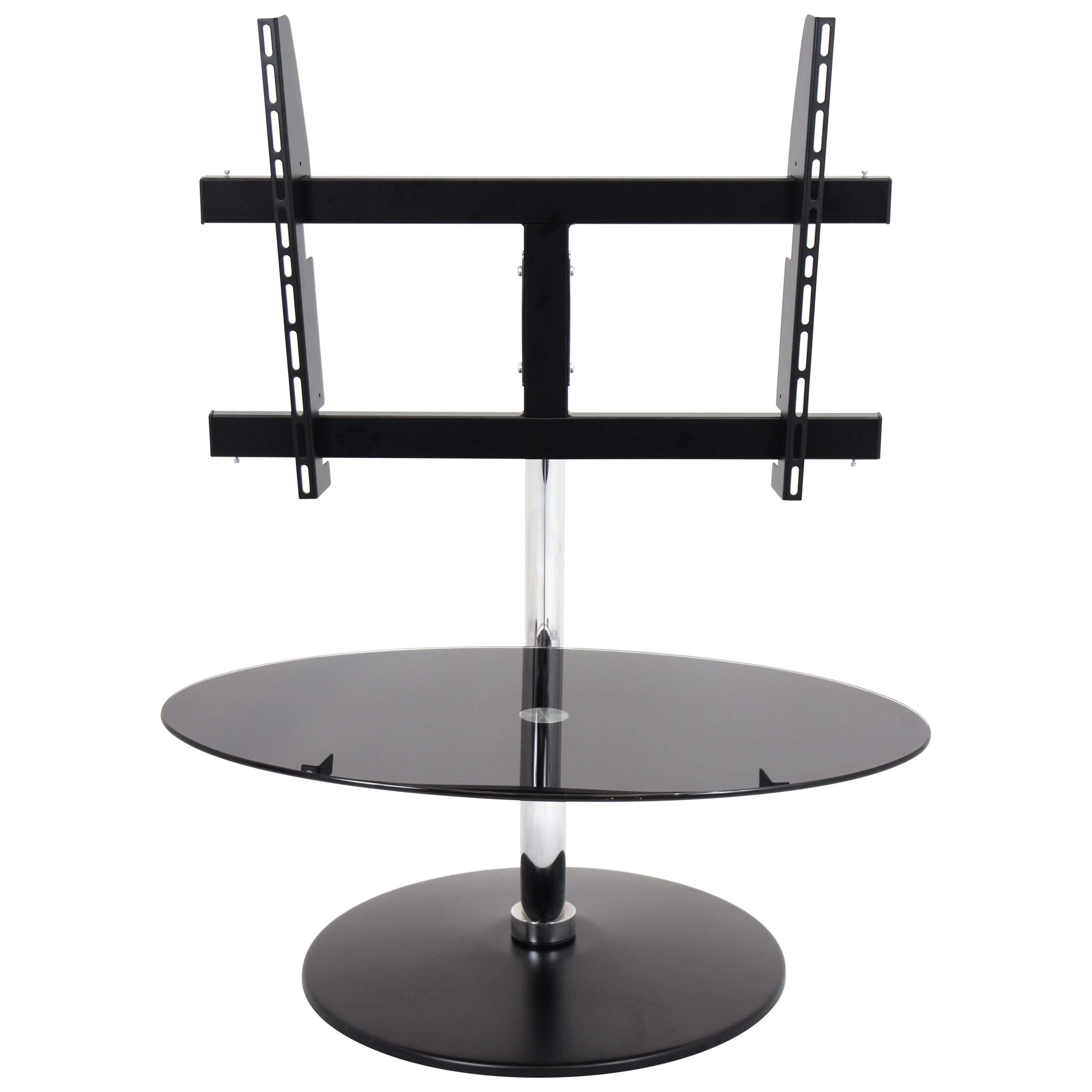 This C-shaped TV stand will add a contemporary flair to any room. This TV stand also swivels 360 degrees to position your TV any way you like.