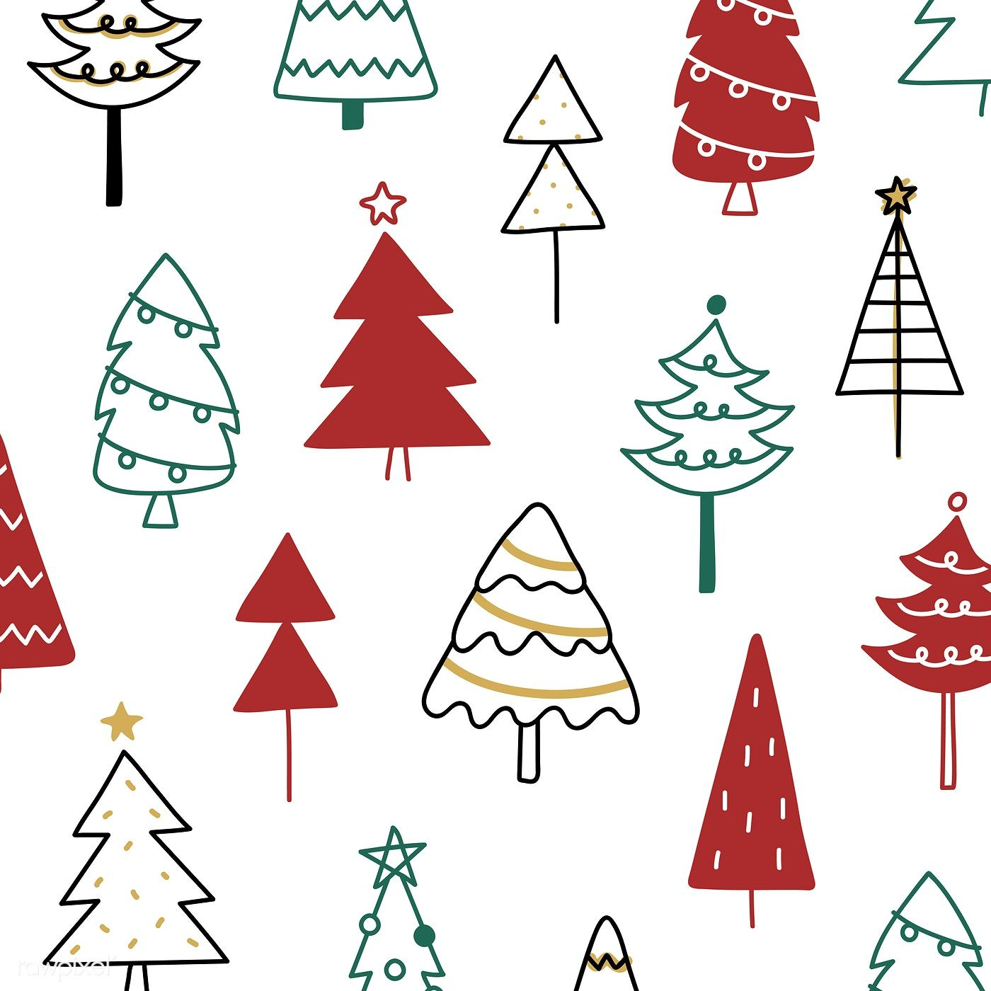 Download Premium Vector Of Christmas Pine Tree Pattern Background Drawing Christmas Tree Pattern Tree Doodle Tree Patterns