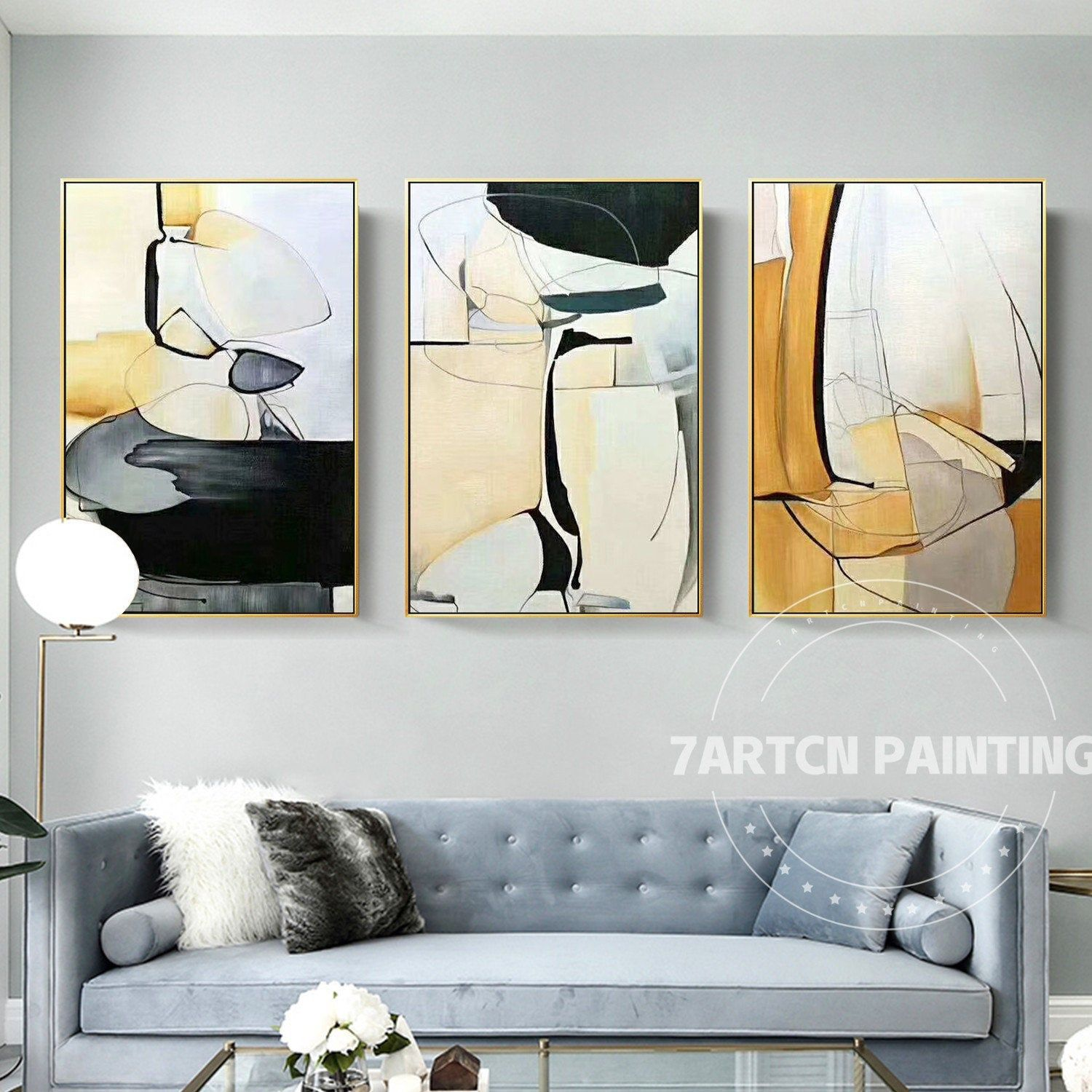 Set Of 3 Pieces Abstract White Yellow Canvas Painting Acrylic Etsy Abstract Canvas Painting Geometric Wall Art Wall Art Wallpaper