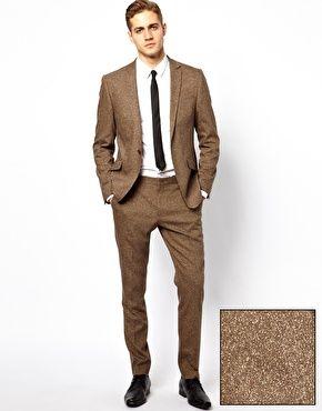 Asos Skinny Fit Suit In Brown Fleck
