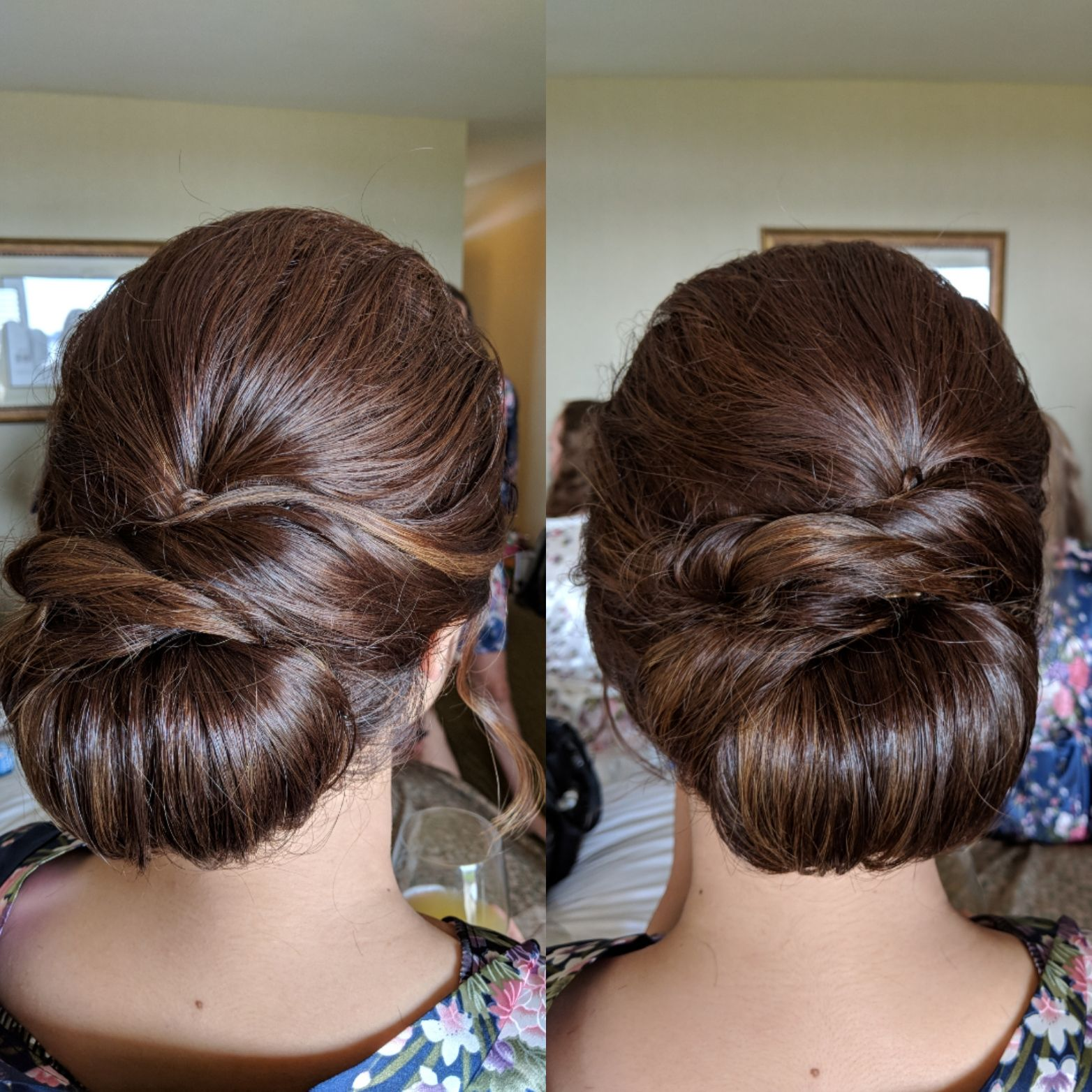 a low chignon for an elegant smooth bridal updo. | bridal