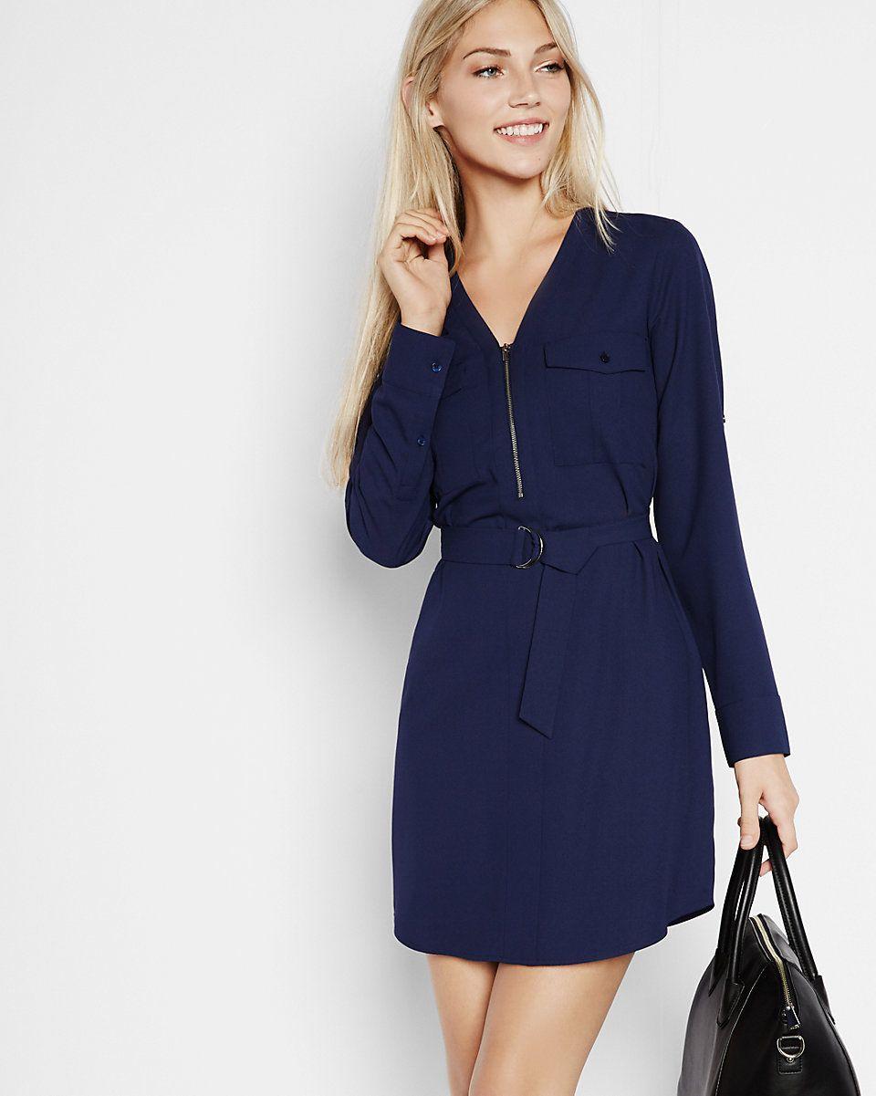5bc43b7030a long sleeve zip front shirt dress (navy blue or black)