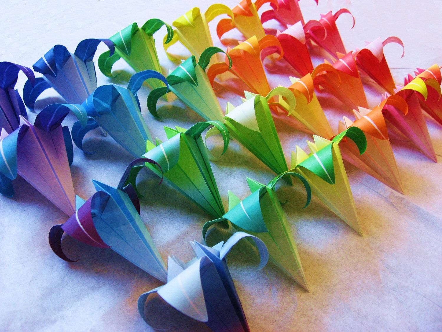 25 large origami irises paper flowers made to order with rainbow 24 large origami irises paper flowers made to order with rainbow paper great for gifts wedding or party favors and table decorations mightylinksfo