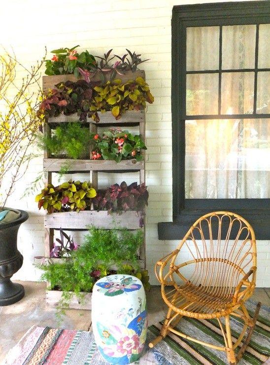 Vertikale Gärten Holzpalette Veranda Terrasse Idee