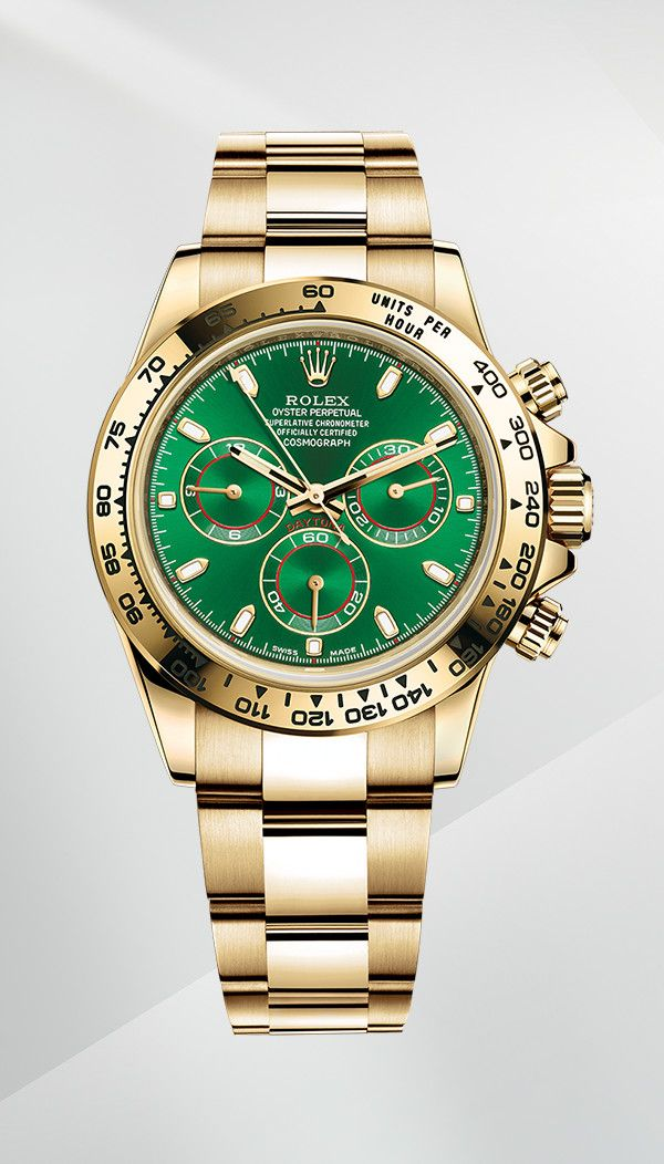 fbb8ac549e6 The Rolex Cosmograph Daytona in 18 ct yellow gold with a green dial ...