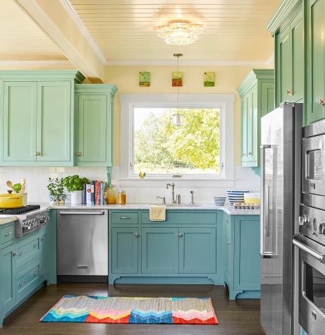 Bright Ideas for a Colorful Whole House Remodel - Funky kitchen, White modern kitchen, Kitchen design, Kitchen colors, Modern outdoor kitchen, Shaker style cabinets - A lively yet restrained paint palette turns a centuryold white box into a cheerful family home