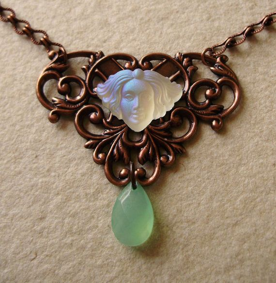White and green choker Mucha inspired  women gift for by Boitifole, $46.00