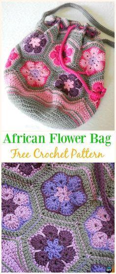 African Flower Bag Free Crochet Pattern Crochet Drawstring Bags