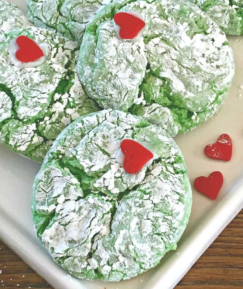 Grinch Cookies Recipe ~ with cake mix ~ A Gouda Life #grinchcookies