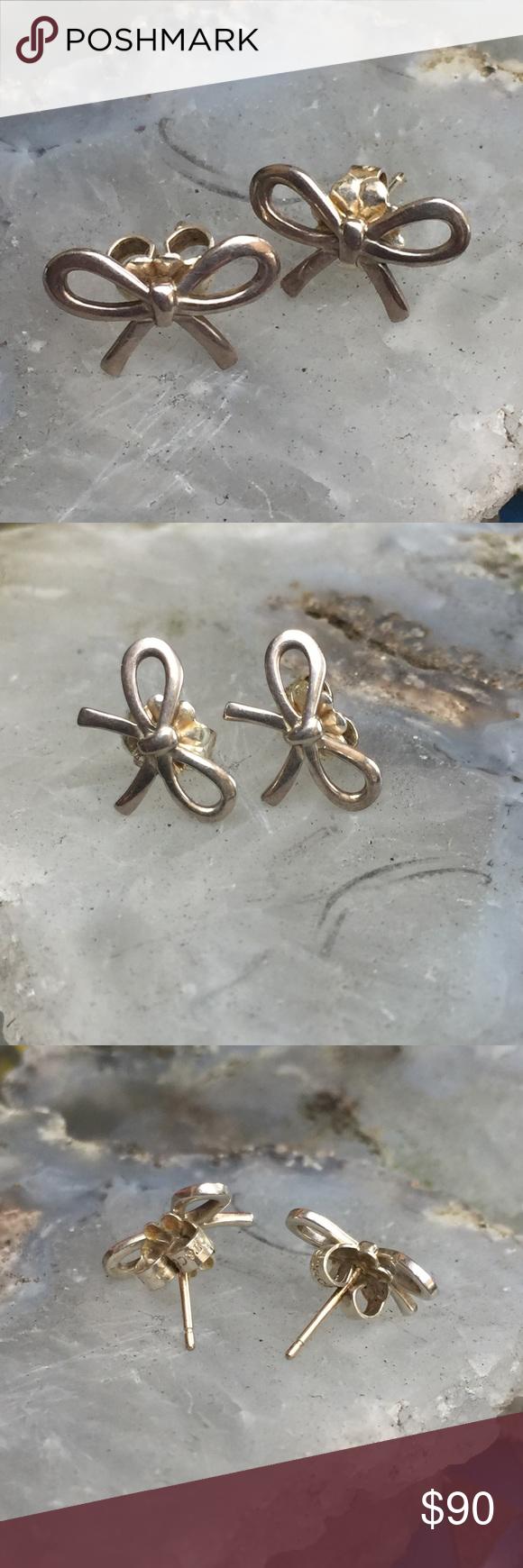 Tiffany Co Bow Earrings In Sterling Silver