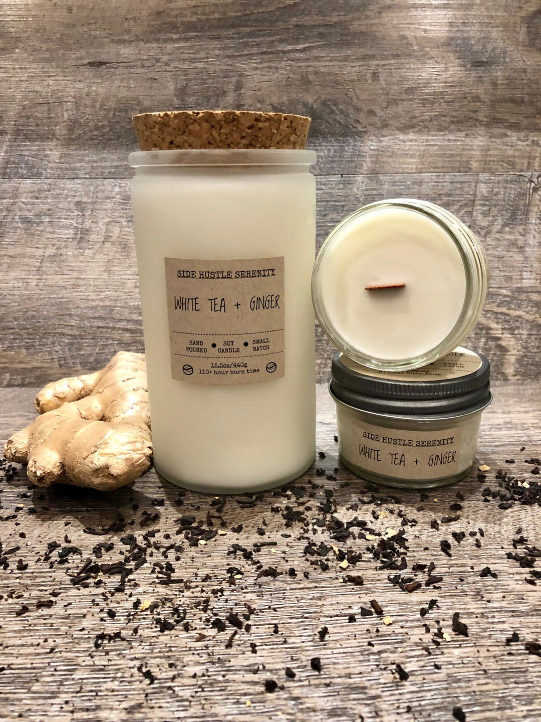 White Tea + Ginger Scented Soy Candle | Soy candles, Mini ...