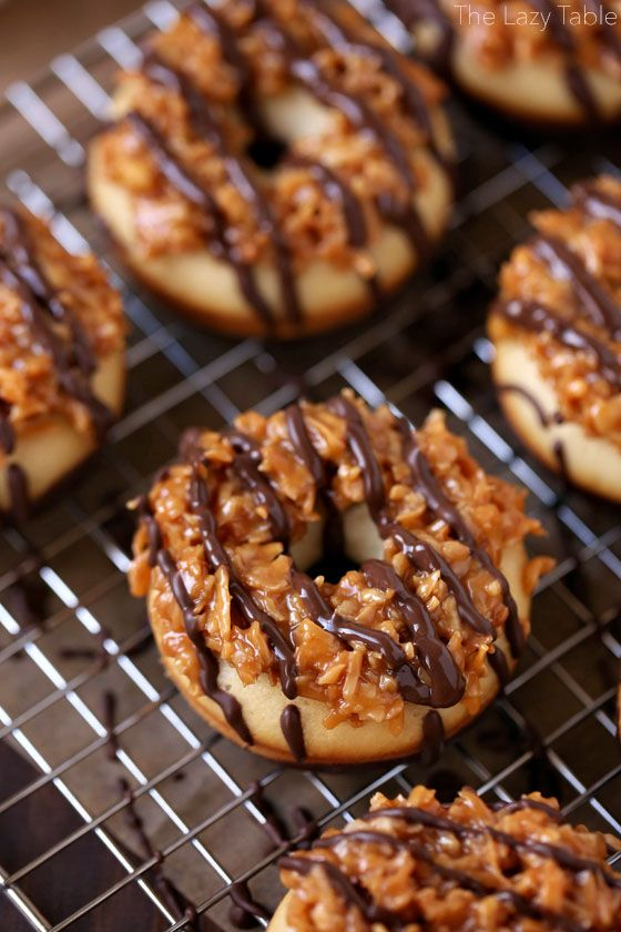 It's National Donut Day, so I'm pulling out one of my favorite donut recipes EVER for you today! It combines two amazing desserts – donuts and Samoa Girl Scout cookies. YUM! I tho…