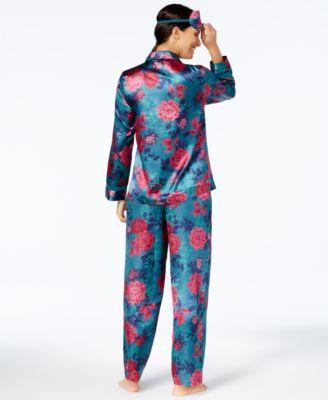 Thalia Sodi Pajama Set & Eye Mask, Created for Macy's - Border Print XXL