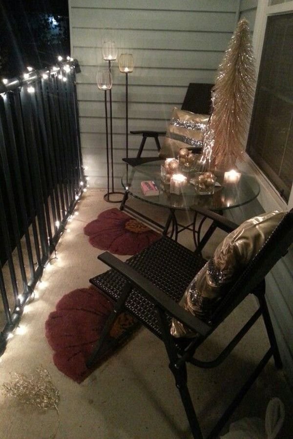 small apartment living room lighting ideas decor with leather furniture 15 balcony balconies pinterest apt holiday decorations even for those who live in apartments grab some large branches stick a bucket of sand