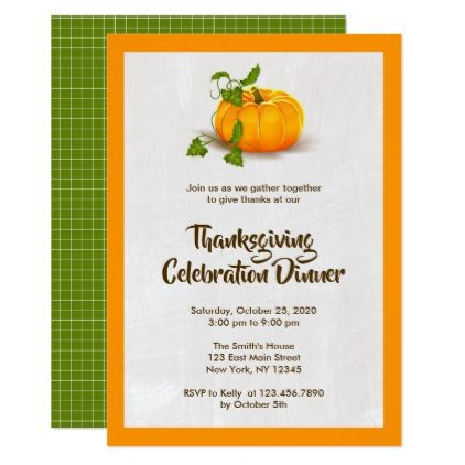 Thanksgiving Pumpkin Party Invitation  Thanksgiving Invitations