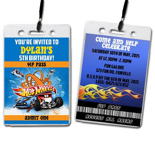 Hot Wheels Birthday Invitation Lanyards Party by invitesbycass – Hot Wheels Birthday Invitations
