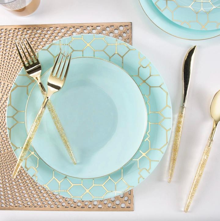 mint plastic dessert plates