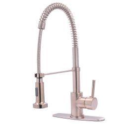 Kingston Brass Single-Handle Spring Spout Kitchen Faucet in Satin Nickel