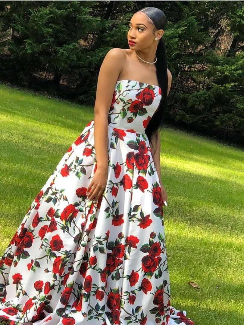 Red floral prom dresses satin strapless plus size long prom dresses