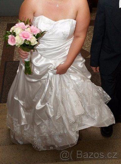 Krásné svatební šaty velikosti 46 po první majitelce - 1