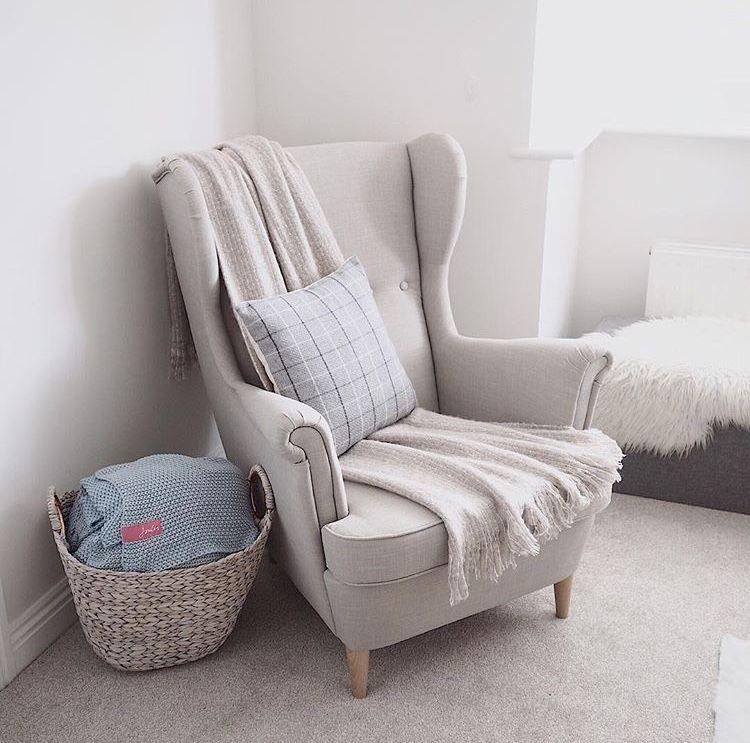 STRANDMON Wing chair Skiftebo light beige IKEA in 2019