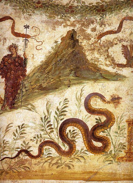 Ancient Roman Empire Pompeii Casa Del Centenario Snake Worship Ancient Paintings Pompeii Ancient Pompeii