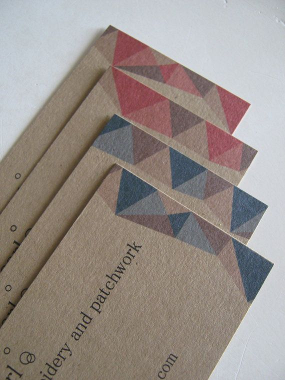 Custom kraft brown business cards with patchwork triangles in pink new to the shop custom business cards matching price tags available reheart Choice Image
